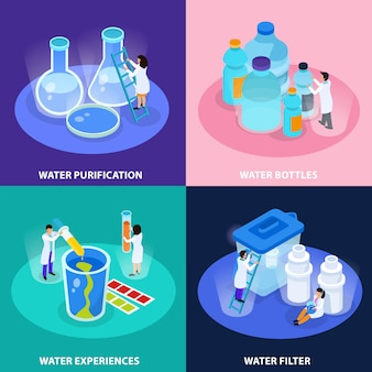 Water purification isometric icon set with water bottles experiences and filter descriptions illustration