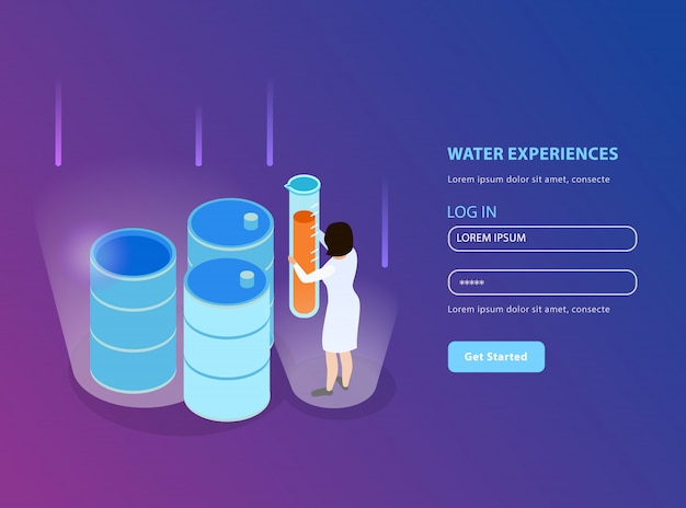 Water purification isometric landing page for website with registration form and water experiences description illustration