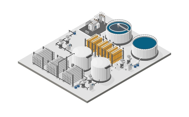 Water purification plants, reverse osmosis plants in isometric graphic