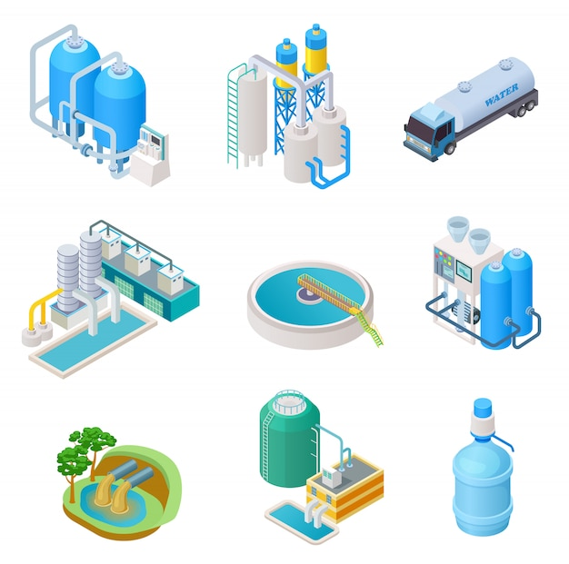 Water purification technology. isometric treatment water industrial system, wastewater separator vector isolated set