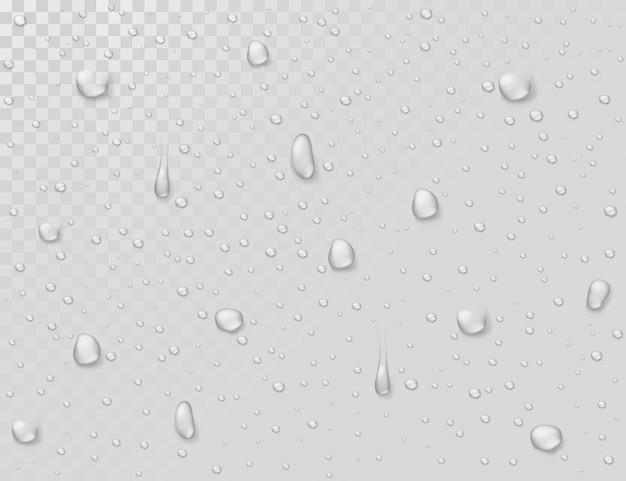 Водный дождь падает. капли на прозрачном мокром стеклянном окне. фотореалистичные капли воды для душа