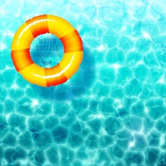 물 표면에 고무 링이 있는 물 리플 배경