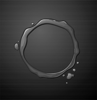 Water round frame on dark metal texture background