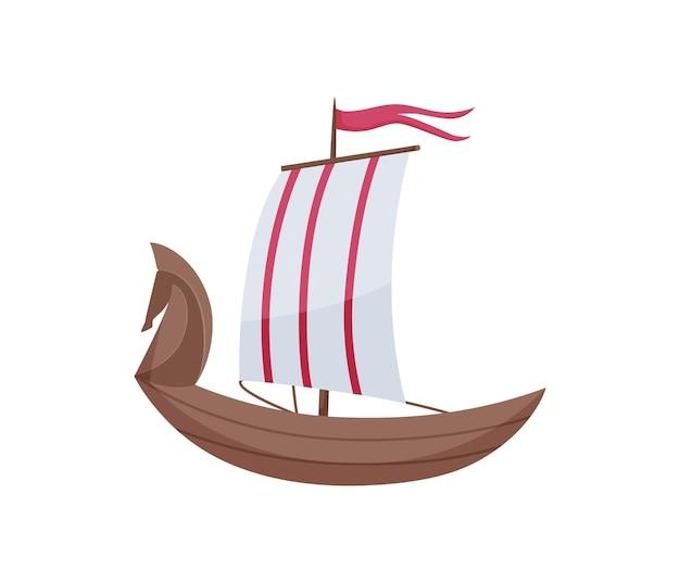 ウォーターヨット。白い背景で隔離の船の側面図。海の水のための帆が付いている古い船