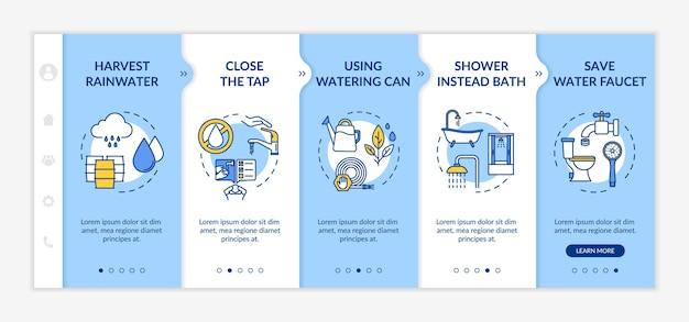 물 절약 팁 온보딩 벡터 템플릿입니다. 자원 지속 가능한 소비, 비용 효율적인 라이프 스타일. 아이콘이 있는 반응형 모바일 웹사이트입니다. 웹페이지 연습 단계 화면. rgb 색상 개념