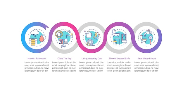 Water saving vector infographic template. resources sustainable consumption presentation design elements. data visualization with five steps. process timeline chart. workflow layout with linear icons