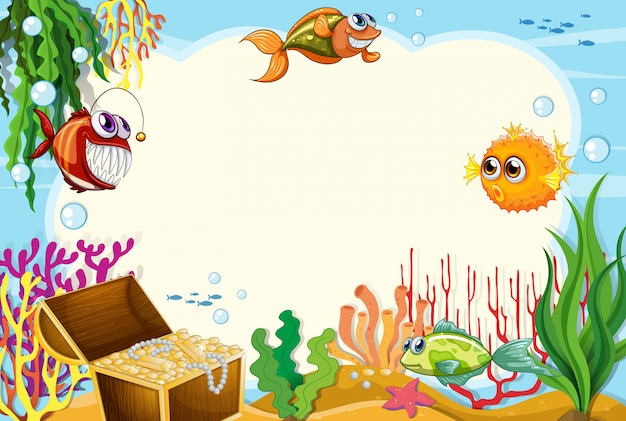 Under water scene background with copyspace