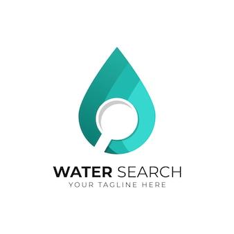 Логотип поиска воды - капля жидкости или масла и символ лупы или лупы.