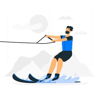 Illustrazione di concetto di sci d'acqua