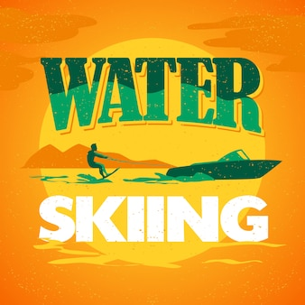 Water skiing logo vector illustration.