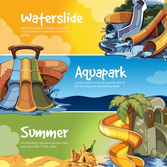 Water slides banner in an aquapark.