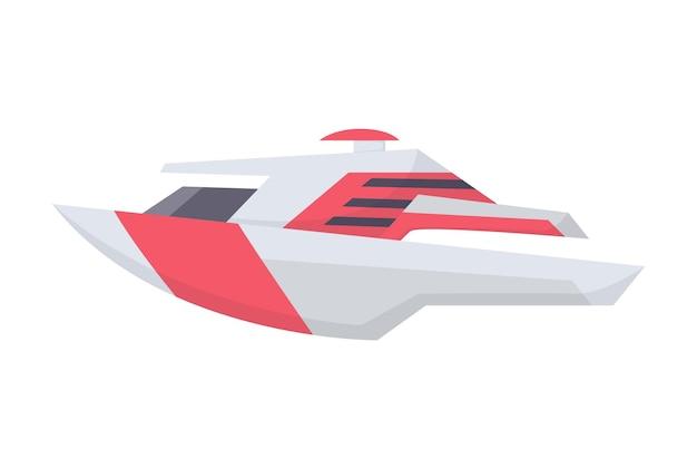 水スピードボート。白い背景で隔離の船の側面図。海水用の高速商用船。隔離された輸送アイコン。 Premiumベクター