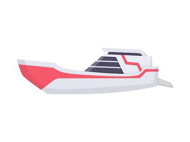 Water speedboat. ship boat side view isolated on white background. fast commercial ship, for ocean