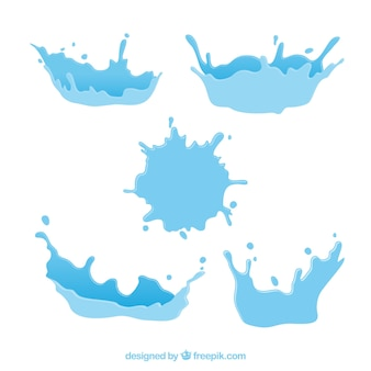 Water splash collection in flat style