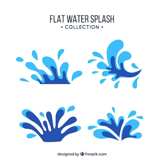 Коллекция всплесков воды в плоском стиле