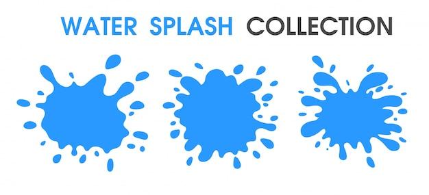 Water splash collection simple cartoon style.