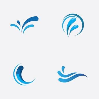 Водный всплеск логотип вектор значок иллюстрации дизайн