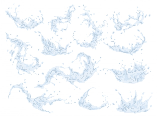 Water splash set isolated