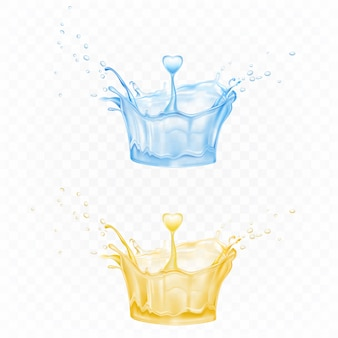 Water splash set in shape of crown in blue and yellow colors with spray droplets and heart drop
