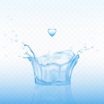 Water splash in shape of crown with spray droplets and heart drop on blue transparent background.