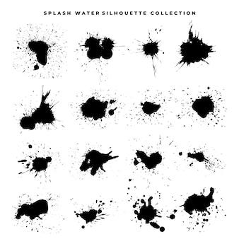 水しぶきベクトルシルエット-ベクトルセット