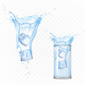 Water splash with ice cubes and glass. dynamic motion of pure liquid with droplets and air bubbles, pure hydration element for ad isolated. realistic 3d vector illustration
