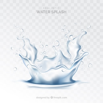 Water splash without background in realistic style