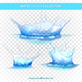 Water splashes collection without background