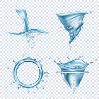 Water splashes. rain drops liquid fluids object transparent blobs dynamic water whirlpool vector realistic pictures