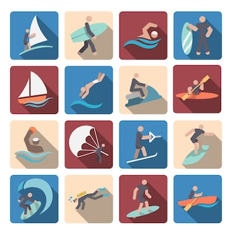 Water sport icons collection
