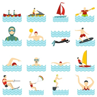 Water sport set flat icons