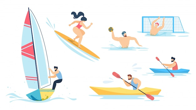 Water sport and sportive people characters set
