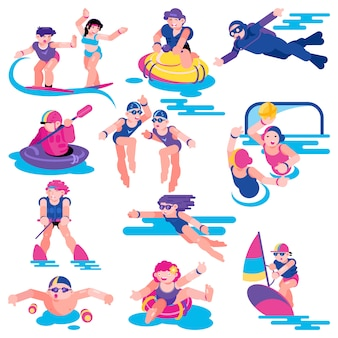 Water sport vector people character on vacation surfing on surf board illustration set