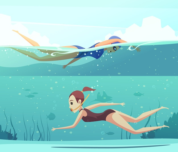 Water sports banner set Free Vector