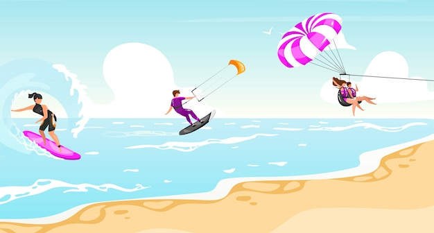 Water sports flat illustration. surfing, kitesurfing, parasailing experience. sportsman on boat active outdoor lifestyle. tropical coastline, turquoise waterscape. athletes cartoon characters