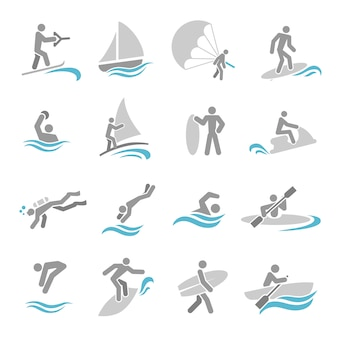 Water sports icons set
