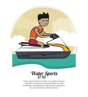 Water sports infographic jetski vector