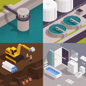 Концепция водоснабжения 4 изометрические иллюстрации
