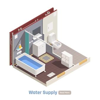 Водоснабжение в жилом доме многоквартирные дома изометрическая композиция с туалетом, ванной, раковиной, заполненной ванной, иллюстрация Бесплатные векторы