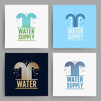 Water supply logo design. cards collection