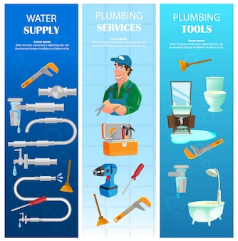 Water supply, plumbing service with tools vertical banners set
