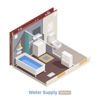 Water supply in residential house apartment buildings isometric composition with toilet bathroom sink filled bathtub illustration