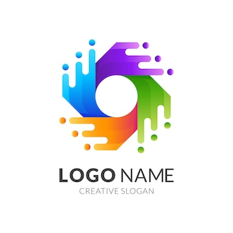 Water swirl logo template with 3d colorful style