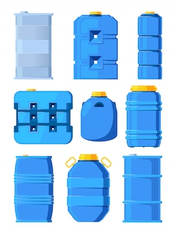 Water tanks. set of various barrels in cartoon style