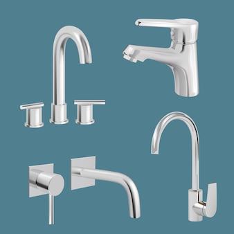 Водопроводный кран реалистично. кран вектор кухонной утвари aqua chrome. смеситель реалистичный металл, оборудование для иллюстрации ванной комнаты