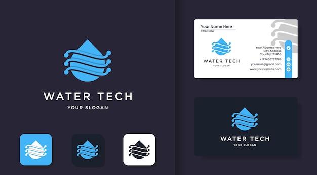 Шаблон логотипа water tech и дизайн визитной карточки