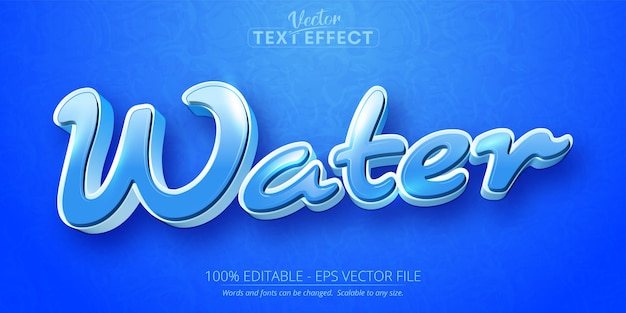 Water text cartoon style editable text effect