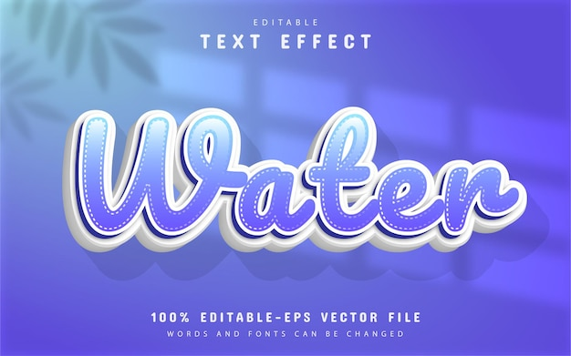 Water text effect cartoon style