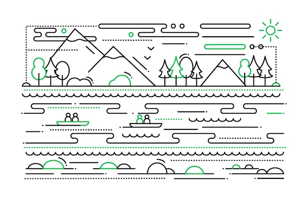 Water tourism -  simple line   illustration with mountain landscape, river, people in the boats