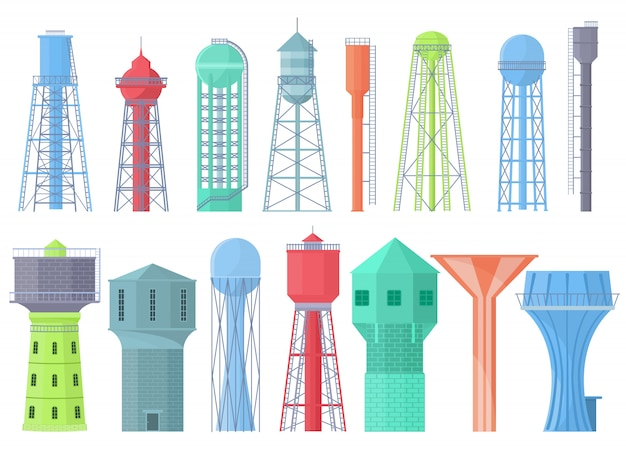 Water tower   tank storage watery resource reservoir and industrial high metal container water-tower illustration set